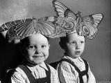 Darling Russian Kindergarten Children Wearing Paper Butterflies Photographic Print by Margaret Bourke-White