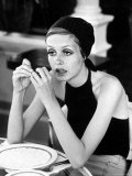 British Fashion Model Twiggy with Slumpy Posture, at Table in Restaurant at Disneyland Premium Photographic Print by Ralph Crane