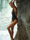 Model Frederique Van Der Wal Wearing Black Bathing Suit Premium Photographic Print by Gene Gale