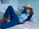 Actress Kate Capshaw Reclining on Bed Premium Photographic Print by David Mcgough