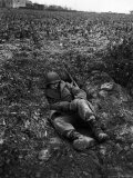 Soldier of US Army Taking Rest in Foxhole Near Front Lines Around Stolberg During Push Into Germany Premium Photographic Print by John Florea