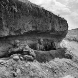 American Soldiers Thurman Rector, Leon Jeannotte and Chelsea Bates Taking Cover in a Trench Photographic Print by Eliot Elisofon