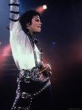 Pop Entertainer Michael Jackson Singing at Event Premium Photographic Print by David Mcgough