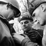 Pair of Russian Soldiers Exchanging Insignia with an American Army Captain Photographic Print by John Florea