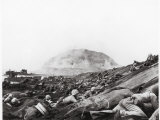 US Marines Advance Up Black Sand Beaches of Iwo Jima to Engage Japanese Troops Photographic Print by Louis R. Lowery