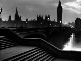 Houses of Parliament Seen Across Westminster Bridge at Dawn, Regarding Poet William Wordsworth Photographic Print by Nat Farbman