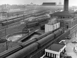 Looking Down on Railroad Yard at Union Station Showing Roundhouse Turntable Premium Photographic Print by Alfred Eisenstaedt