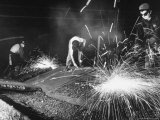 Steel Worker Using Chalk to Mark Defects on Steel so Scarfer Can Remove Them with Acetylene Torch Premium Photographic Print by Margaret Bourke-White