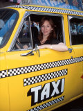 Actress Marilu Henner Sitting in Taxi Cab to Promote Reruns of Her Television Series Taxi Premium Photographic Print by Dave Allocca