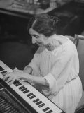 Harpsichordist Wanda Landowska, at Home Playing the Harpsichord Premium Photographic Print by Herbert Gehr