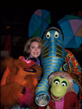 "Relationships Expert Dr. Joyce Brothers with Puppets from Television Series ""Sesame Street"" Premium Photographic Print by David Mcgough"