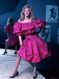 Actress Morgan Fairchild Wearing Pink Dress, Reflected by Mirror Premium Photographic Print by David Mcgough