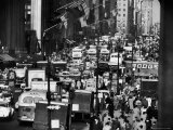 Pre-Christmas Holiday Traffic on 57th Avenue, Teeming with Double Decker Busses, Trucks and Cars Premium Photographic Print by Andreas Feininger