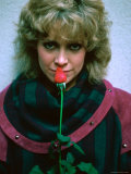 Actress Catherine Hicks with Rose Premium Photographic Print by David Mcgough