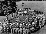 Boys in Circle for Ceremony Before Playing Young American Football League Games Photographic Print by Alfred Eisenstaedt
