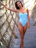 Model Frederique Van Der Wal, Wearing Light Blue Bathing Suit Premium Photographic Print by Gene Gale