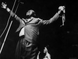 """Trumpeter Louis Armstrong Belting Out His Famous Rendition of the Song """"Hello Dolly"""" in a Nightclub Premium Photographic Print by John Loengard"""