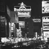 Night View of Taxi and Traffic Congestion Looking North on 45th Street Photographic Print by Andreas Feininger