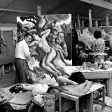 "Thomas Hart Benton Working on His Painting ""Rape of Persephone"" in His Studio Using Live Nude Model Photographic Print by Alfred Eisenstaedt"