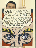 "Roy Lichtenstein Holding His Painting ""Image Duplicator"" Premium Photographic Print by John Loengard"