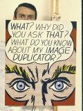 """Roy Lichtenstein Holding His Painting """"Image Duplicator"""" Premium Photographic Print by John Loengard"""
