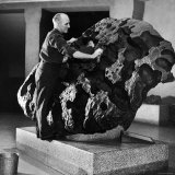 Museum Attendant Cleaning 14 Ton Willmette Meteorite, the Largest Found in the US Photographic Print by Jack Birns
