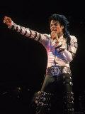 Pop Entertainer Michael Jackson Singing at Event Fototryk i høj kvalitet af David Mcgough