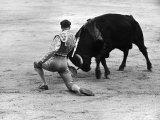 Matador Julian Marin and Bull in the Ring for a Bullfight During the Fiesta de San Ferman Premium Photographic Print by Tony Linck