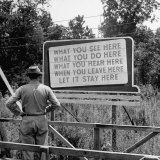 WWII Era Billboard at Oak Ridge Facility Warn Workers to Keep silent of anything seen or Heard here Photographic Print by Ed Clark