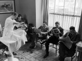 Hotel Northampton Barber Doing Business as Guests for Smith College Supper Dance Wait Their Turn Photographic Print by Alfred Eisenstaedt