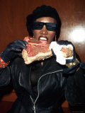 Singer Grace Jones Putting Raw Steak to Mouth Premium Photographic Print by Marion Curtis