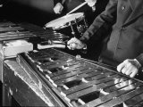 Hands of Percussionists Sam Borodkin Playing the Share Drum and Albert Rich Playing the Xylophone Premium Photographic Print by Margaret Bourke-White