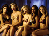 Model Tyra Banks and Other Victoria's Secret Models During Commercial Shoot Premium Photographic Print by Marion Curtis