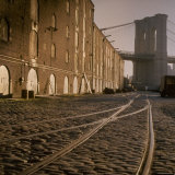 Shuttered Warehouses Lit by Sunlight on Trolley Track Railed Street Along Brooklyn Waterfront Photographic Print by Walker Evans