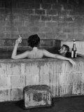 Actor Steve McQueen and Wife Taking Sulfur Bath at Home Premium Photographic Print by John Dominis