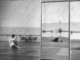 Choreographer Michel Panaief with Maria Schell Rehearsing Dance for 'Brothers Karamazov' Premium Photographic Print by Leonard Mccombe