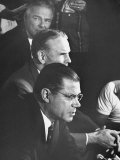 Gen. Maxwell Taylor, Henry Cabot Lodge and Robert McNamara Planning Strategy for Vietnam War Premium Photographic Print by Bill Eppridge