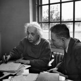 Albert Einstein, in Discussion with Robert Oppenheimer in Office Institute for Advanced Study Premium Photographic Print by Alfred Eisenstaedt