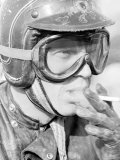 Actor Steve McQueen in Helmet and Goggles During 500 Mi. Motorbike Race Across Mojave Desert Premium Photographic Print by John Dominis