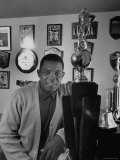 Baseball Star, Willie Mays at Home with Trophies Premium Photographic Print by Nat Farbman