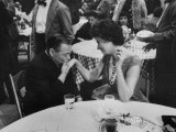 Actress Sophia Loren Attending Party at Table with Petere Lorre Premium Photographic Print by Ralph Crane