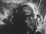 Hippie Poet Allen Ginsberg Smoking Premium Photographic Print by John Loengard