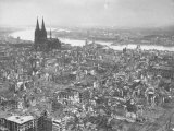 Aerial View of Cologne Showing Devastation of Allied Air Raids, Cathedral and Rhine River Photographic Print by John Florea
