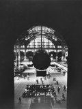 Interior of Penn Station Through Archway and Behind Suspended Clock, with Ceiling Ironwork Premium Photographic Print by Walker Evans