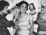 Actress Maureen O'Hara Helping Daughter Bronwyn Fitzsimons Dress for Her Graduation Party Premium Photographic Print by J. R. Eyerman