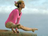 Teen Gymnast Cathy Rigby Performing on Balance Beam Metal Print by John Dominis