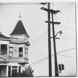 Turret and Roof of Victorian Style House in Bunker Hill Section of Los Angeles Photographic Print by Walker Evans