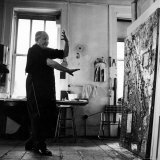 Hans Hofmann Painting in His Studio Premium Photographic Print by Andreas Feininger