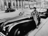 Authoress Francoise Segan Standing Beside Her Jaguar Premium Photographic Print by Thomas D. Mcavoy