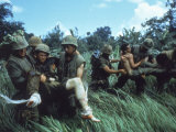 Members of 1st Marine Division Carrying Wounded During Firefight During Vietnam War. South Vietnam Premium Photographic Print by Larry Burrows